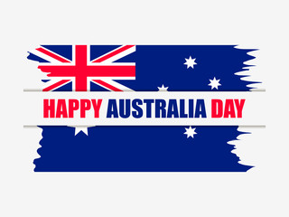 Happy Australia day 26th january. Greeting card with flag of Australia in grunge style, national holiday. Vector illustration