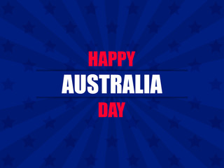 Happy Australia day 26th january. Greeting card background with rays, national holiday. Vector illustration
