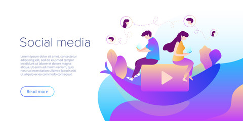 Social media chat concept in vector illustration. Teens using smartphones for virtual conversation, sharing or writing comments. Creative website layout or landing page template. Web banner concept.