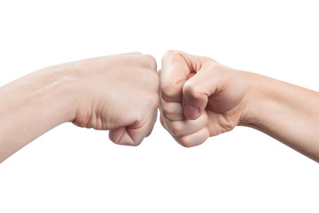 Two fists hitting each other, isolated on white background Wall mural