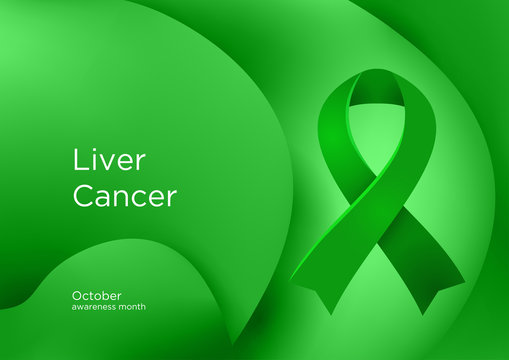 Liver Cancer awareness month in October. Hepatic and primary hepatic cancer, is cancer that starts in the liver. Emerald Green color ribbon Cancer Awareness Products.