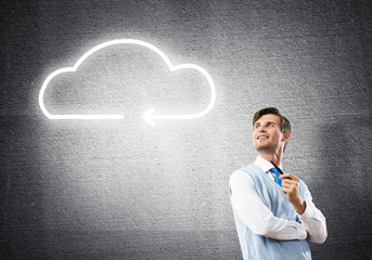 Elegant banker wearing red tie and cloud as idea concept