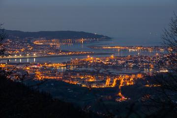 Look from Bidasoa-Txingudi bay with Irun, Hondarribia and Hendaia, at the Basque Country.