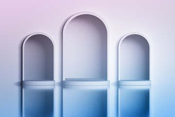 Three white arched niches in the wall over the shiny reflective surface. Image with blue pink tint. 3d illustration.