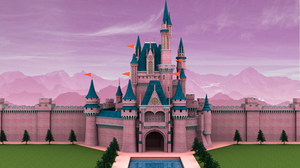 Fantasy fairy tale castle 3D illustration