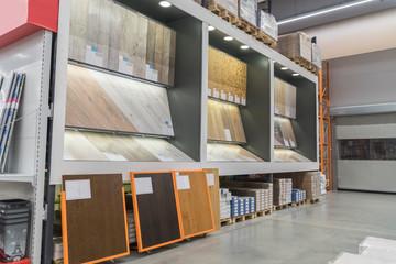 BELARUS, MINSK - NOVEMBER 28 2018 supermarket shelves background a large hardware store, flooring