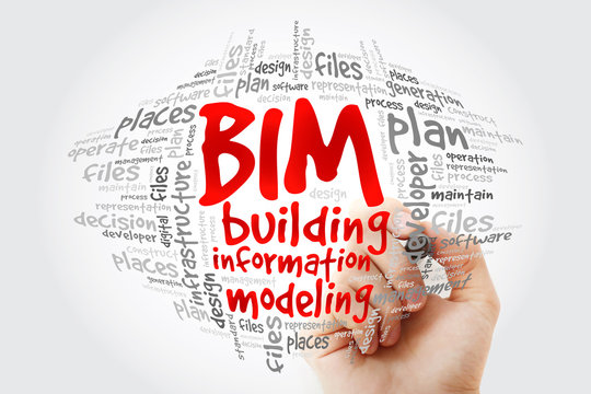 BIM - building information modeling word cloud with marker, business concept