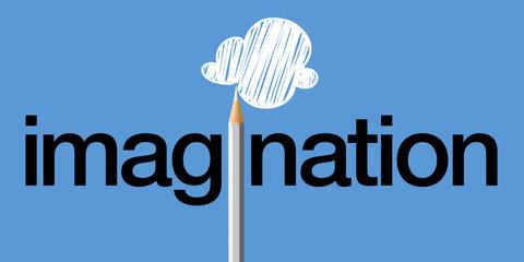 Concept de l'imagination, avec le mot imagine écrit en noir sur un fond bleu et un crayon blanc qui remplace le i et dessine un nuage