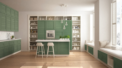 Modern white kitchen with green wooden details in contemporary luxury apartment with parquet floor, vintage retro interior design, architecture open space living room concept idea