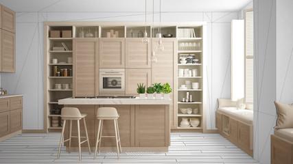 Modern white kitchen with wooden details in contemporary luxury apartment, interior design concept idea, black ink sketch in the background, minimalist furniture