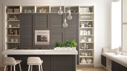 Modern white kitchen with dark wooden details in contemporary luxury apartment with parquet floor, vintage retro interior design, architecture open space living room concept idea