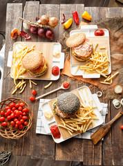 Set three burger, french fries, ketchup sauce