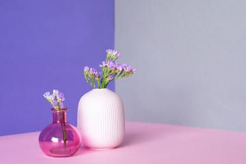 Violet sea lavender flowers in a multicolor background