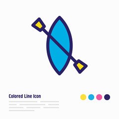 Vector illustration of kayak icon colored line. Beautiful tourism element also can be used as canoe icon element.