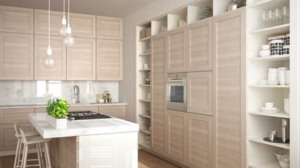 Modern white kitchen with wooden details