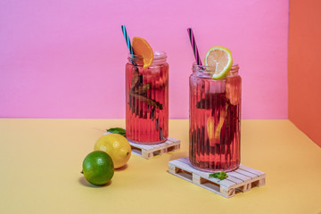 Jars of pink cold ice tea