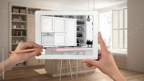 Hands Holding And Drawing On Tablet Showing Modern White And Wooden