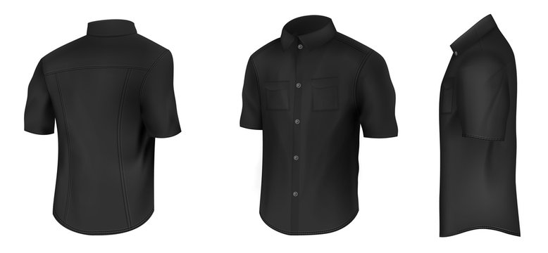 Empty mens classic black shirt with short sleeves and pockets on chest in half turn front, side and back view 3d realistic vector mockup isolated on white background. Casual clothing illustration