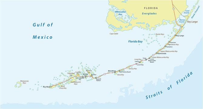 detaild florida keys road and travel vector map