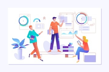 People work in a team and interact with graphs. Business, workflow management and office situations. Landing page template. Vector illustration.
