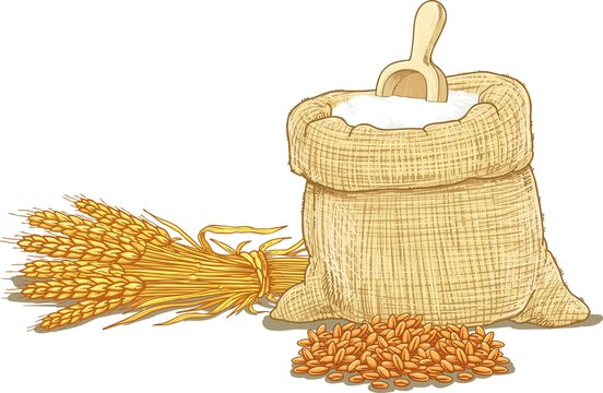 A bag of flour and a shovel, wheat, ears of wheat. Vector illustration