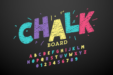 Colorful hand drawn chalk font