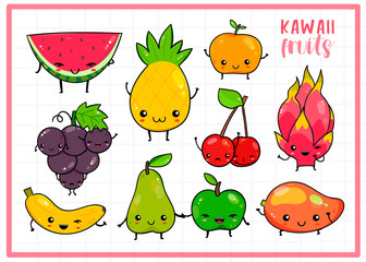 Hand drawn various kawaii fruits. Colored vector set. Checked background. All elements are isolated