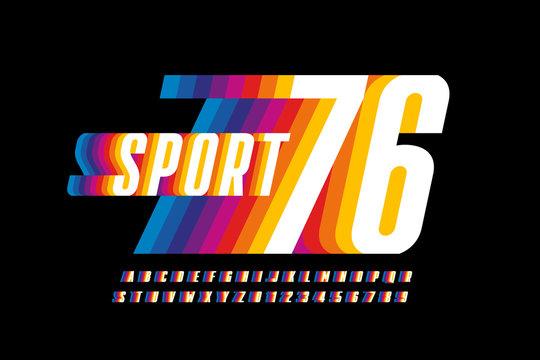 Retro sport style colorful font design