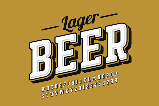Vintage style font with simple beer label design