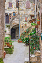 Wall Mural - Beautiful alley in Tuscany, Old town, Italy