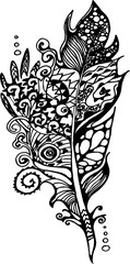 Illustration with stylized feathers with doodle patterns.