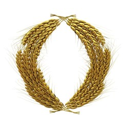 Wheat ears logo. Mock up for you design. 3d render