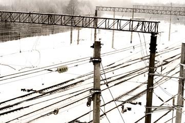railway in winter in the city