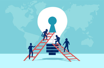 Vector of business people climbing up the ladder into light bulb open keyhole