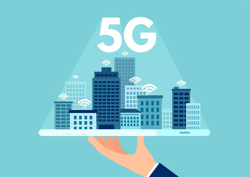 Vector of 5g network logo over the smart city with icons of town infrastructure skyscrapers.