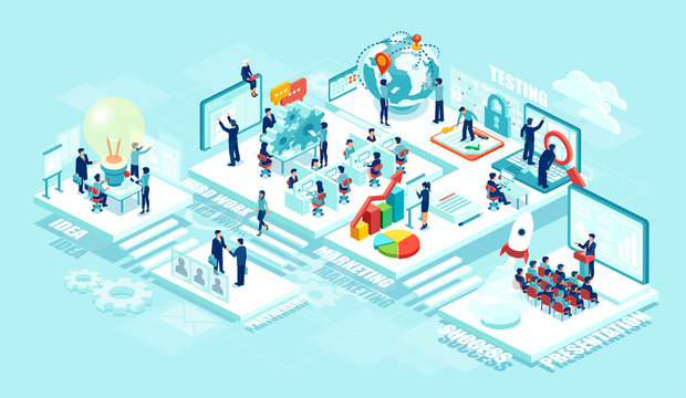 Isometric vector of virtual office with businesspeople, corporate employees working together on a new startup using mobile devices