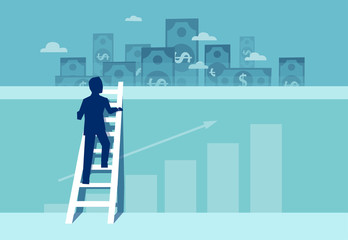 Vector of a challenged businessman climbing up the wall to see financial real estate opportunities