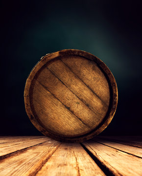 Retro old barrel and free space for your decoration