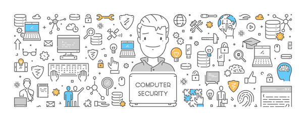Vector line design concept for computer security. Creative style banner for internet security