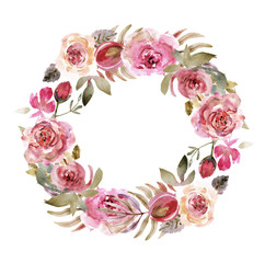 Watercolor roses wreath on a white background. Watercolor flowers isolated
