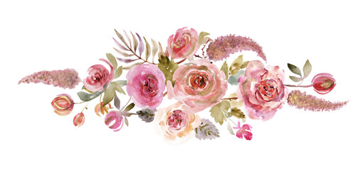 Watercolor roses on a white background. Watercolor flowers isolated