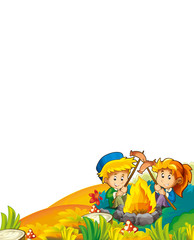 cartoon autumn nature background with kids having fun camping with tent and grilling with space for text - illustration for children
