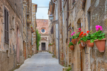 Fototapete - Beautiful alley in Tuscany, Old town, Pitigliano, Italy
