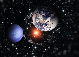 Planet Earth and the blue planet among deep dark space with stars and nebulae. Elements of this image furnished by NASA.