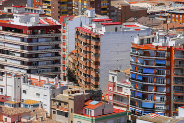 aerial view of the city of Cartagena Spain with lot of differ roofs