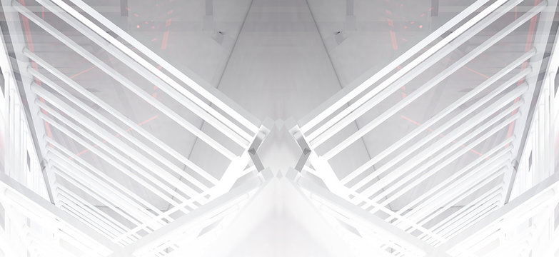 White neon lamps in a light, empty space, a pyramid of light from Led neon, a light abstract background with metal structures. Tunnel Corridor With Smoke Fog Empty Background 3D Rendering