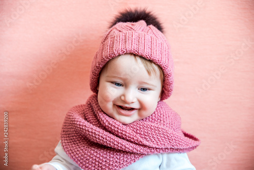72ab90d7d Girl long hair dream pink background. Kid dreamy face wear knitted ...