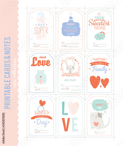 Romantic and Cute Vector Cards, Notes, Stickers, Labels, Tags with