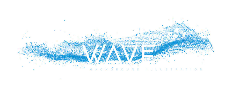 Water wave design consisting of points and lines on a white background. Geometric vector illustration on a white