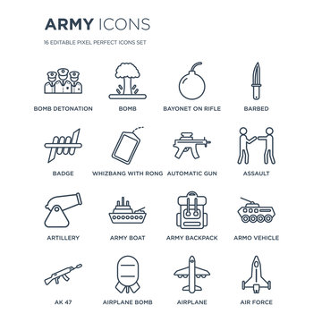 16 linear Army icons such as Bomb Detonation, Bomb, Airplane AK 47, Armo Vehicle, Air force, Badge modern with thin stroke, vector illustration, eps10, trendy line icon set.